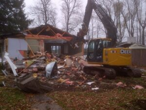 Drain Bros. Demolition of house in Lakefield